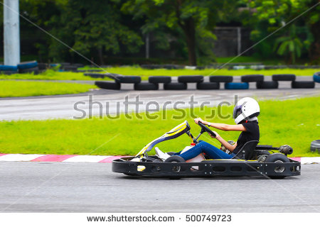 Woman Driving Is Karting Stock Photos, Royalty.