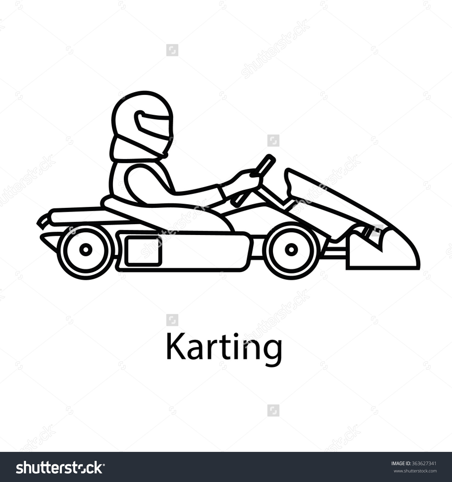 Logo Karting Man Racing On Sport Stock Vector 363627341.