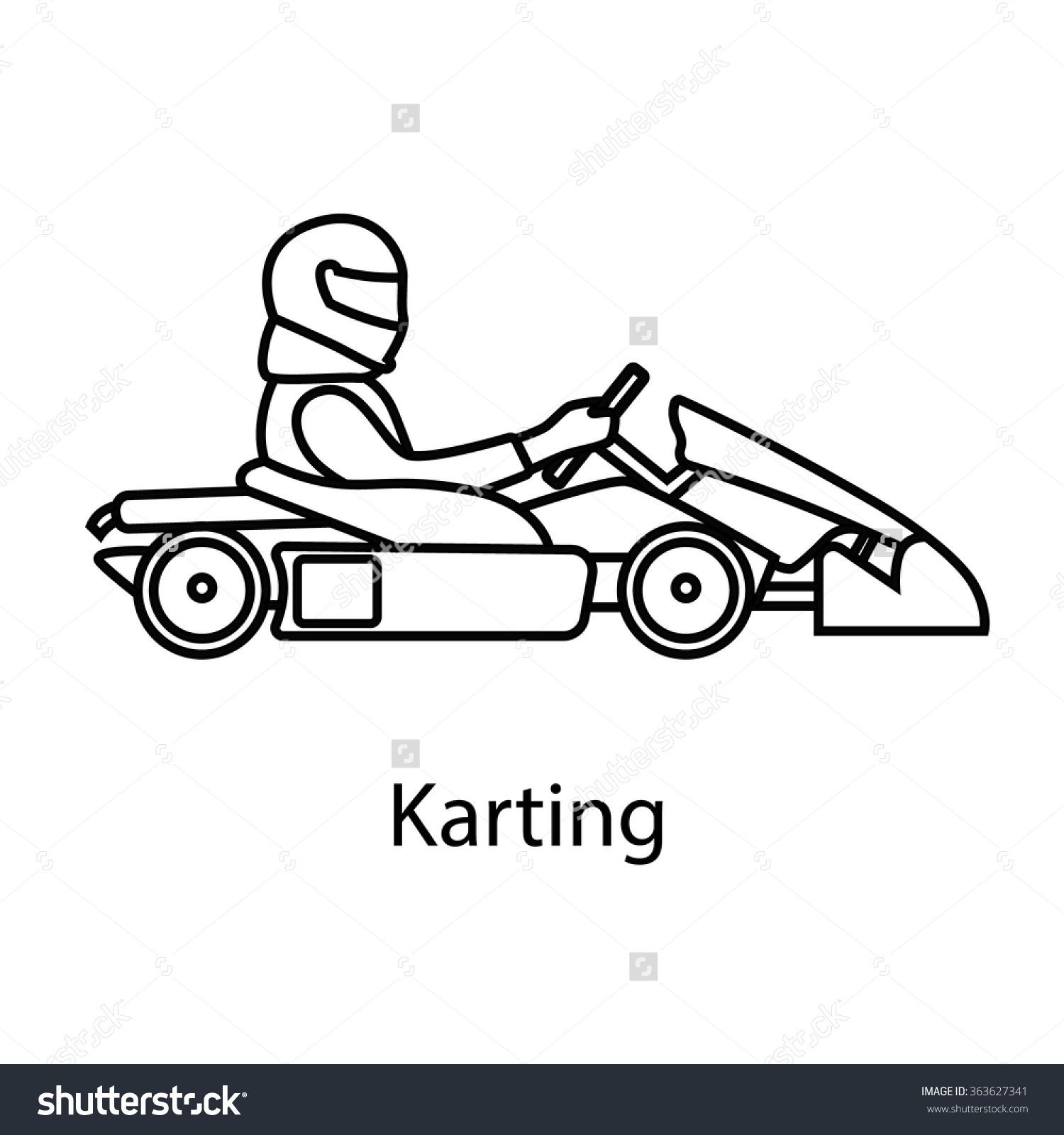 Logo Karting Man Racing On Sport Stock Vector 363627341.