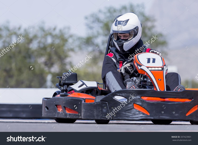 Young Man Gokart Pilot Racing Race Stock Photo 337423901.