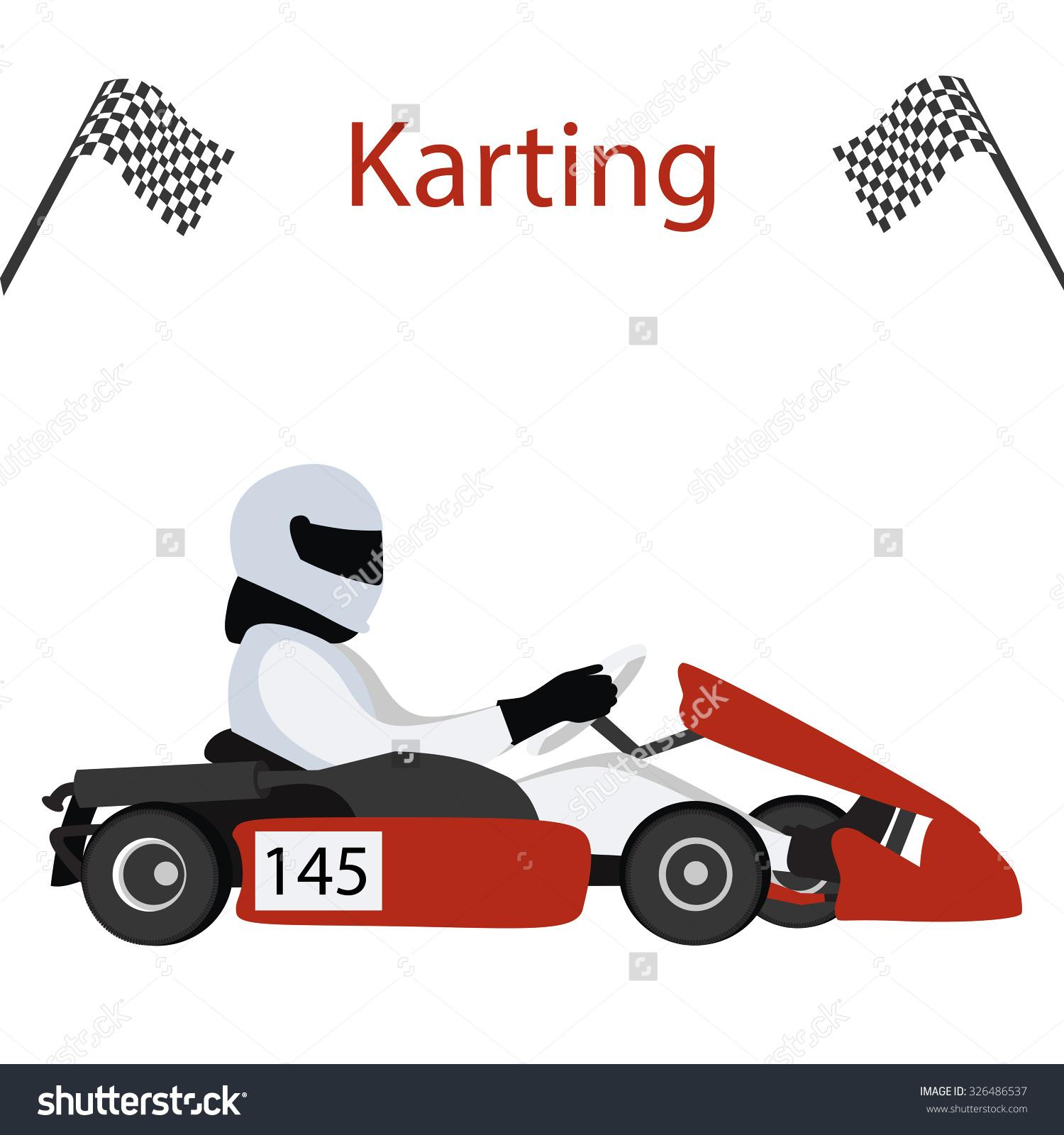 Logo Karting Man Racing On Sport Stock Vector 326486537.