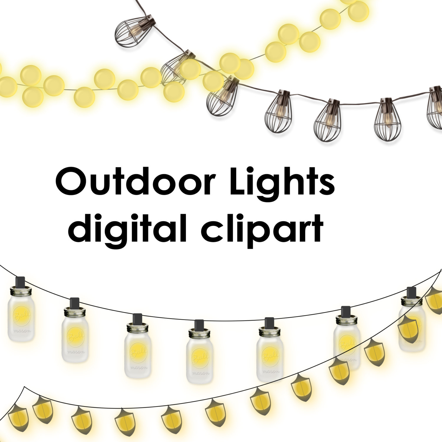 Garden Lights Clipart.