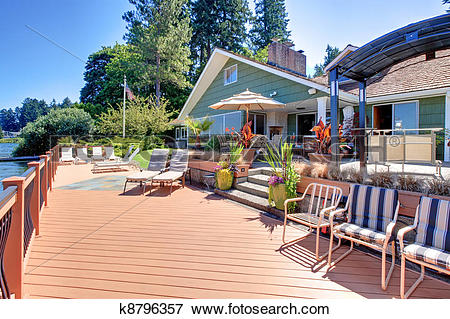 Picture of Lake fron house with large deck and outdoor living.