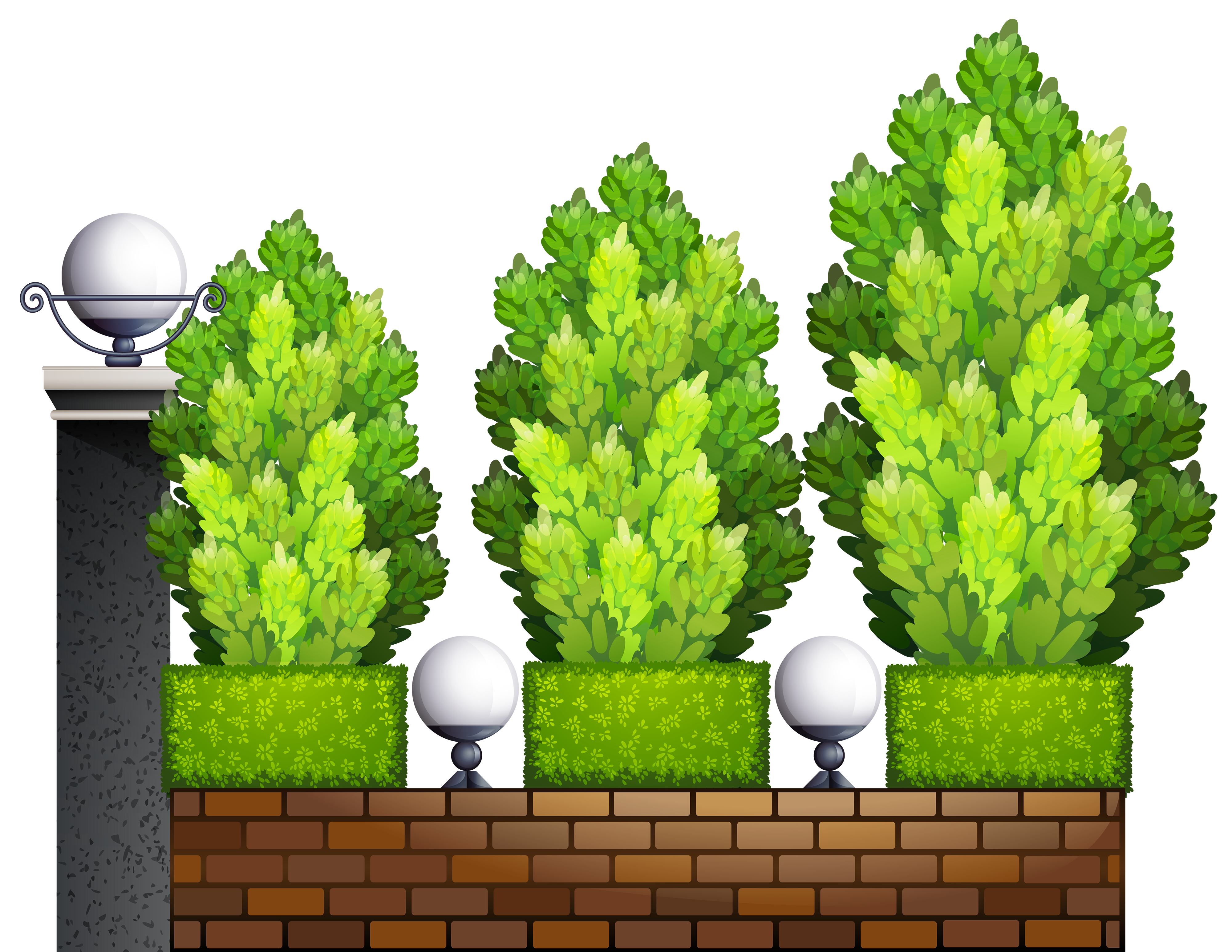 Fence with Plants PNG Clipart.