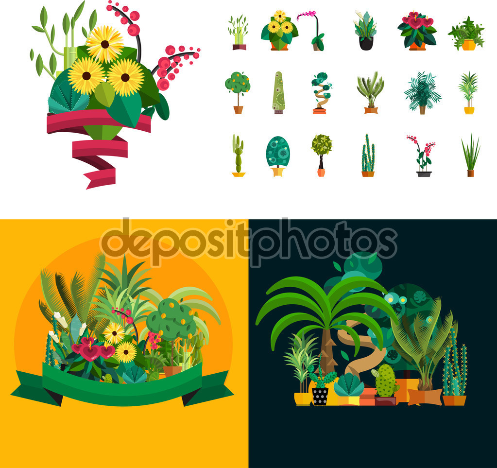 Garden Plants Potted Flowers In The Vector Illustration