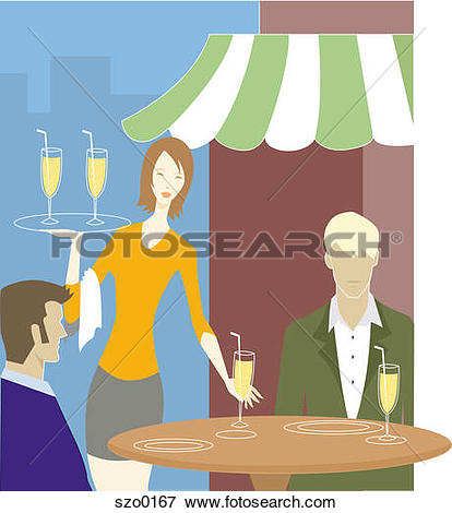 Stock Illustration of Waitress serving two men at an outdoor cafe.
