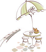 Clipart of Table and Chair at outdoor cafe k12876571.