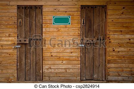 Stock Photo of Outdoor Toilet Wooden.