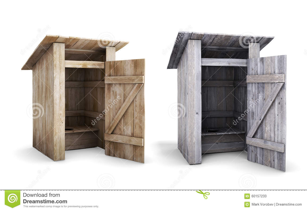 Old And New Wooden Outdoor Toilet With The Door Open Stock.