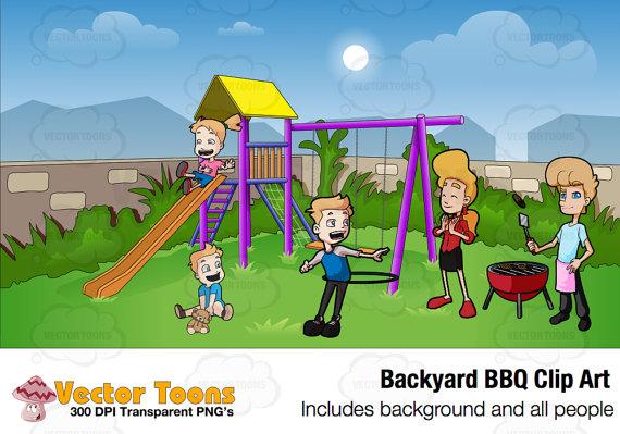 Backyard Clipart And Clip Art Outdoors Summer Backyard BBQ Digital.