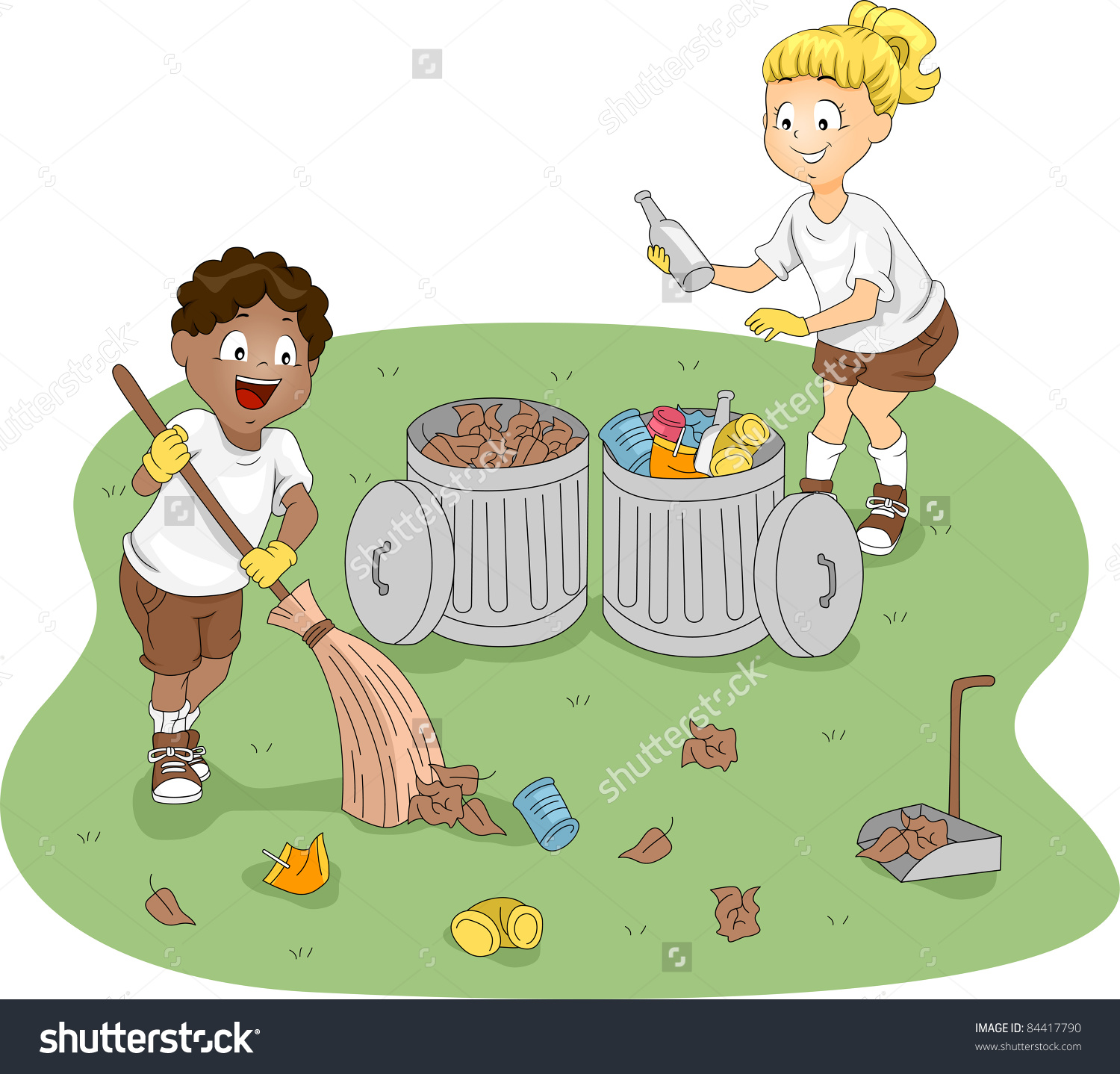 Illustration Kids Cleaning Camp Stock Vector 84417790.