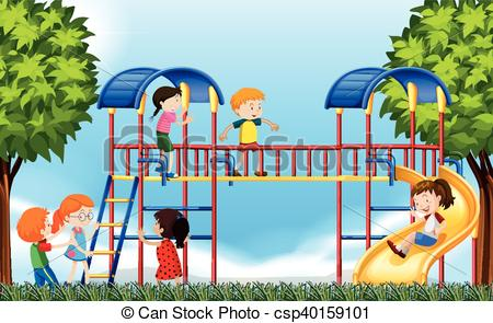 Vector Clipart of Children playing in the playground at daytime.