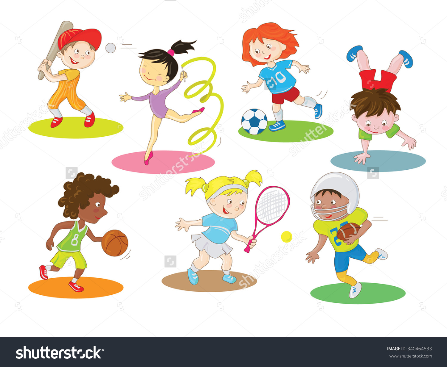 Day time activities for kids clipart.