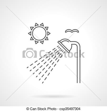 Vector Clipart of Outdoor shower flat line vector icon.