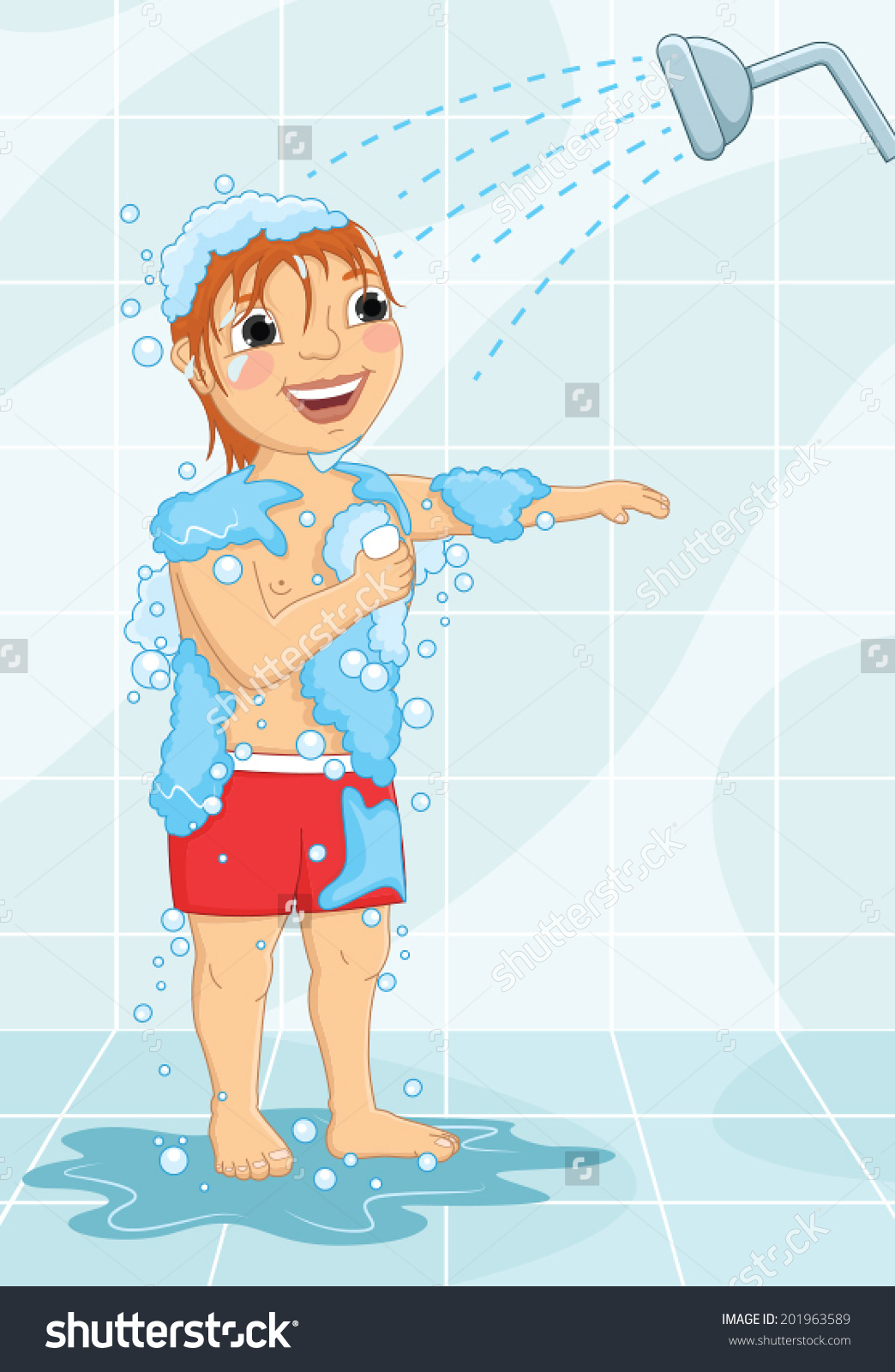 Young Boy Having Shower Vector Illustration Stock Vector 201963589.