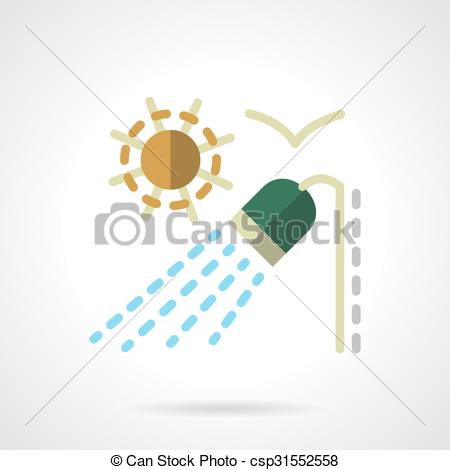 Clipart Vector of Outdoor shower flat color vector icon.