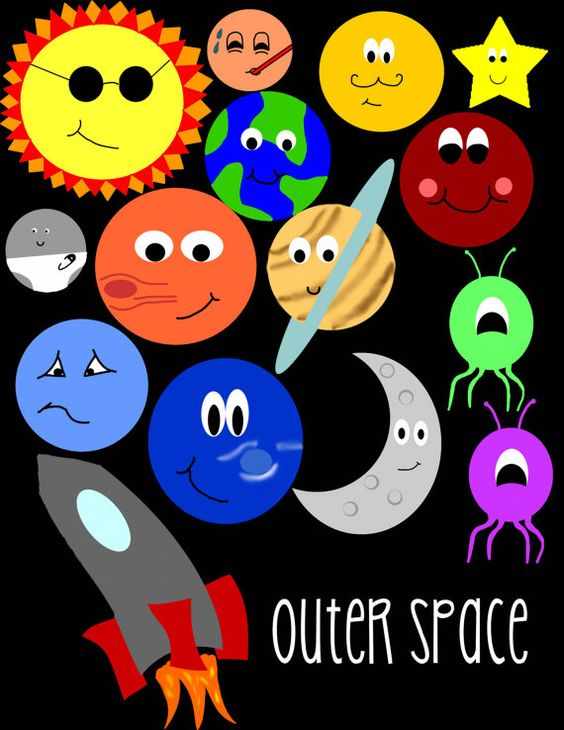 Outer Space Clip Art by ThreeScribblings on Etsy #crafts.