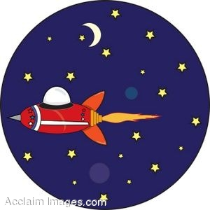 Clip Art of a Retro Space Ship in Outer Space.