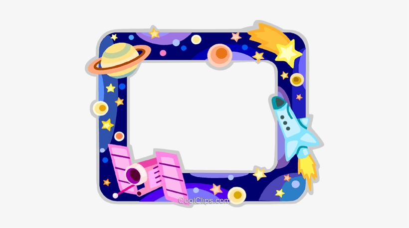 Outer Space Frame Royalty Free Vector Clip Art Illustration.