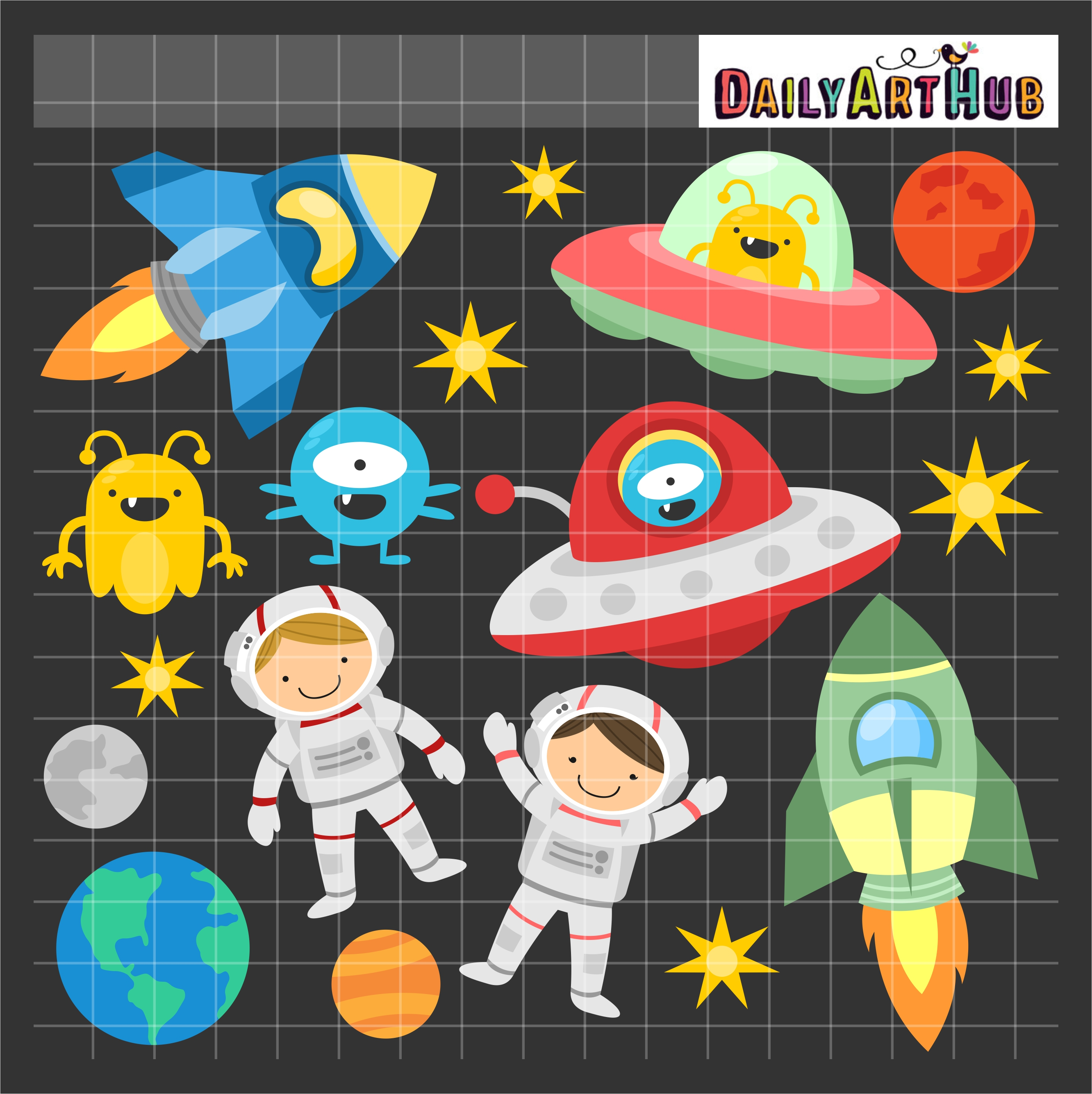 Fun Outer Space Clip Art Set.