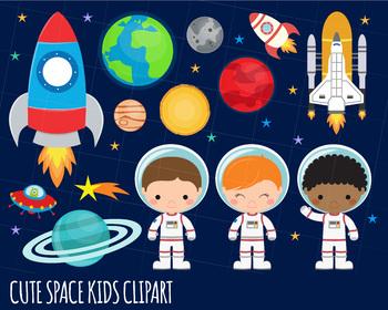 Space Clipart, Astronaut Clipart, Rocket, Outer Space Clipart, Alien Clipart.