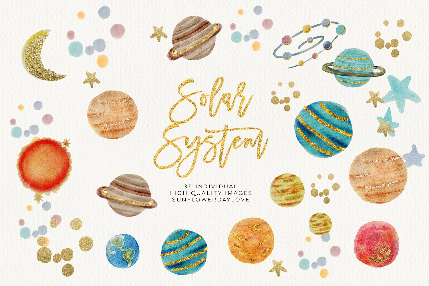 watercolor SOLAR SYSTEM clipart, Outer Space Clipart planets graphic space  clipart scrapbook planet clip art, digital image digital download.