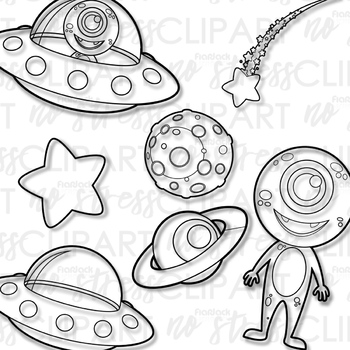 Outer Space Aliens Clip Art (Digital Use Ok!).