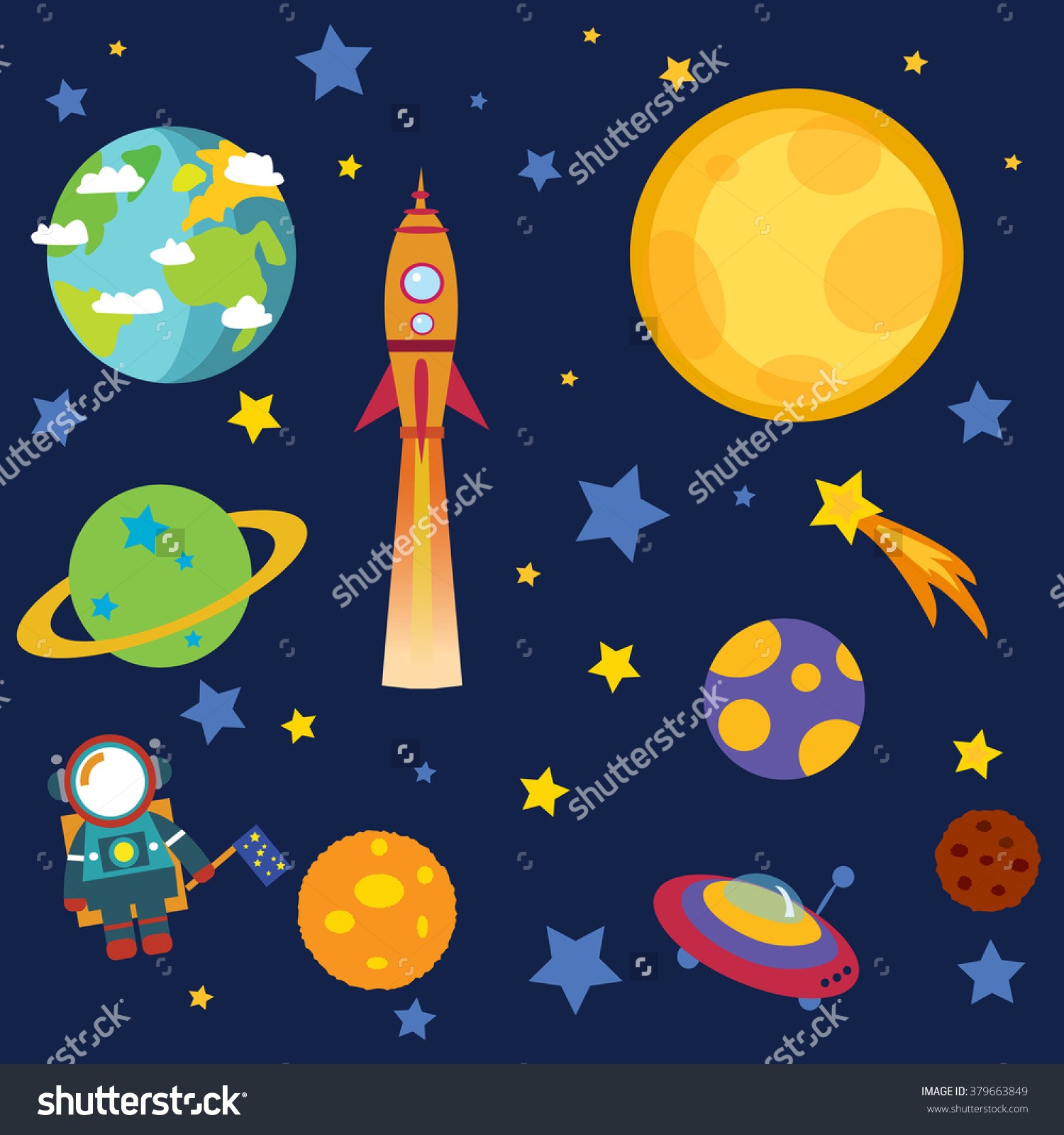 Outer Space Stars Moon Planets Astronaut Stock Vector 379663849.