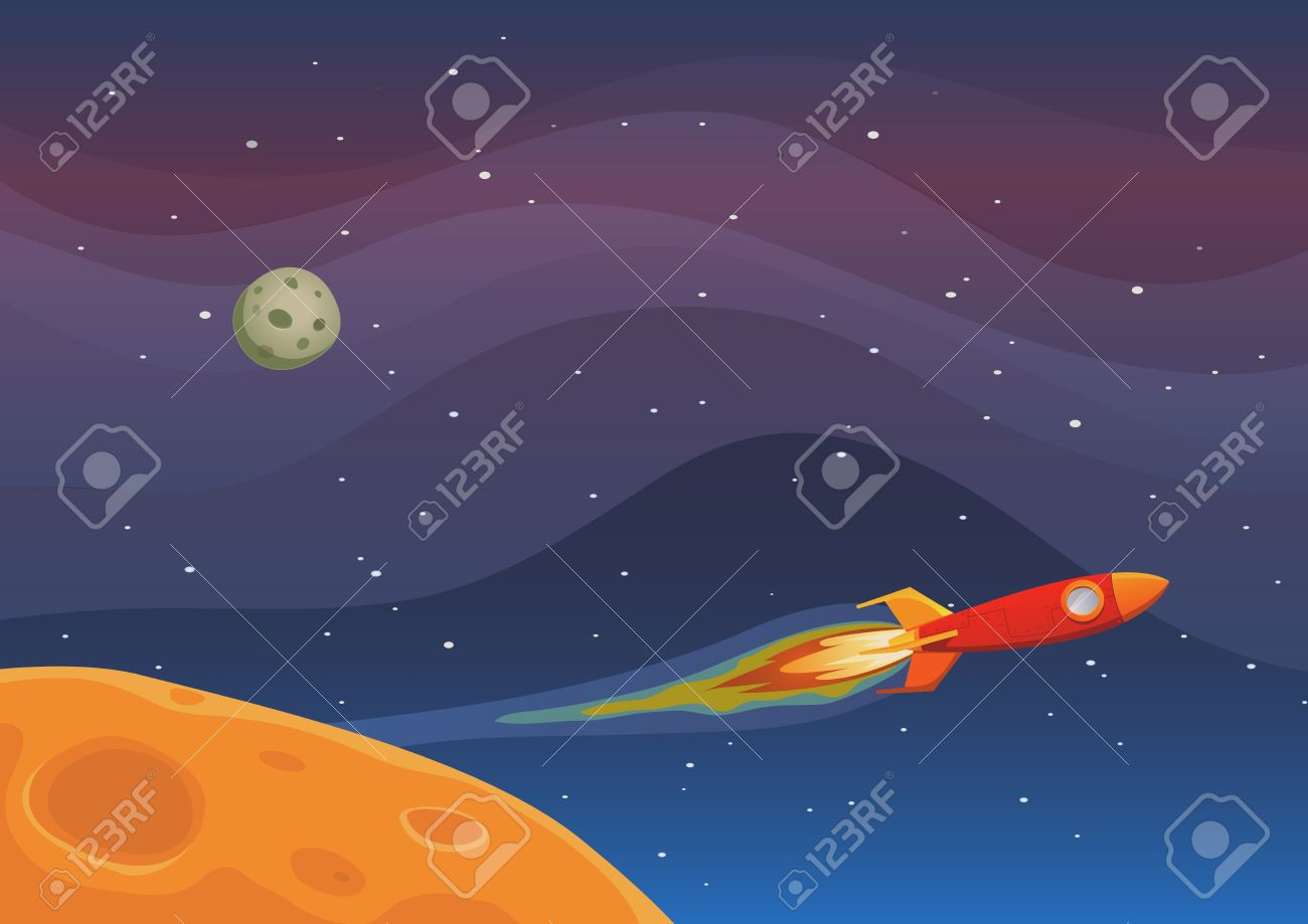 Illustration Of A Rocket Spaceship Flying Through Outer Space.