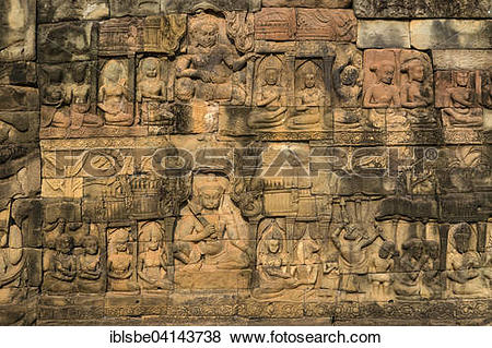 Pictures of Terrace of the Leper King, outer wall, figures of.