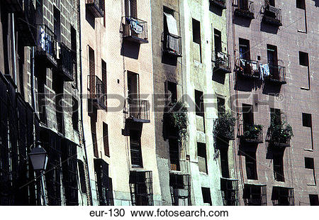 Stock Photography of Balconies on Outer Wall Plaza Mayor Madrid.