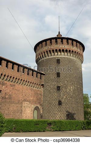 Stock Photos of Big tower sforza castle.