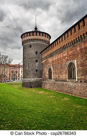 Stock Photo of The Outer Wall of Castello Sforzesco (Sforza Castle.