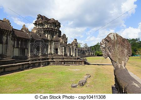 Stock Photography of Angkor Wat outer wall.