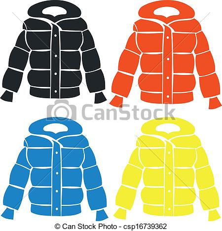 Clip Art Vector of Female jacket. Set of fashionable female.