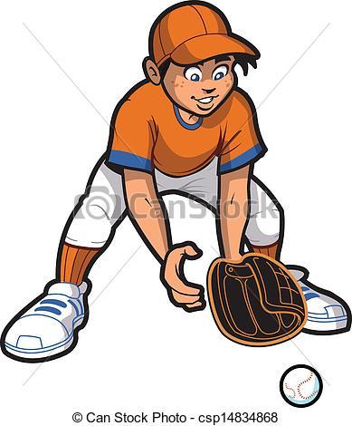 Clip Art Vector of Outfielder.