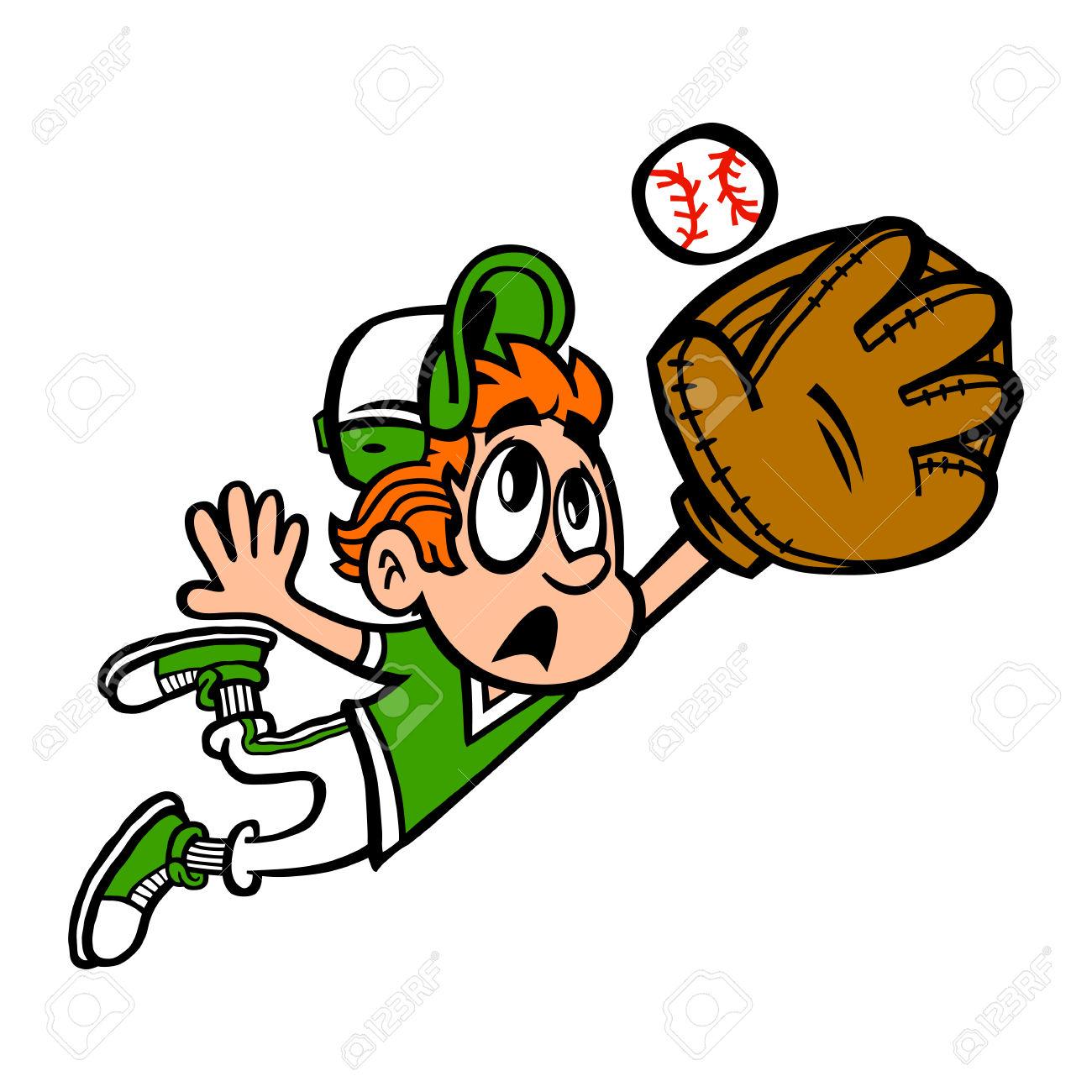 Baseball Player Kid Outfield Vector Cartoon Royalty Free Cliparts.