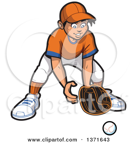Clipart Of A Happy Male Baseball Player Boy Outfielder Ready for a.