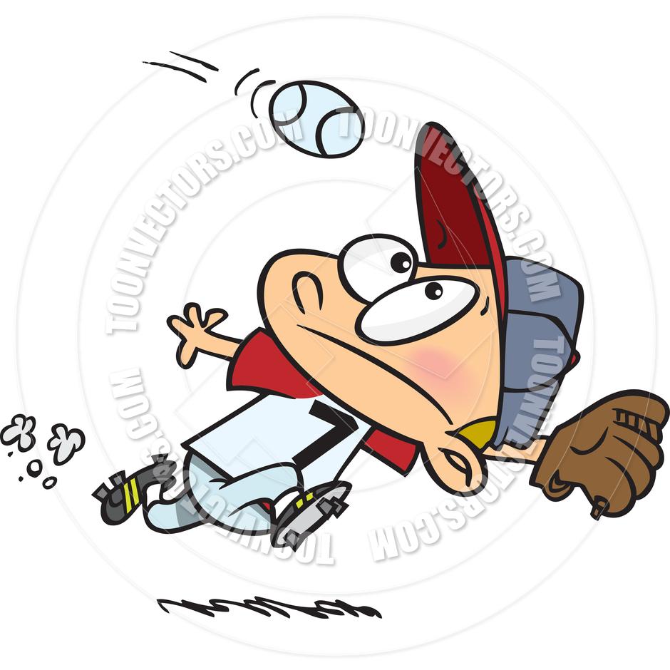 Cartoon Baseball Outfielder by Ron Leishman.