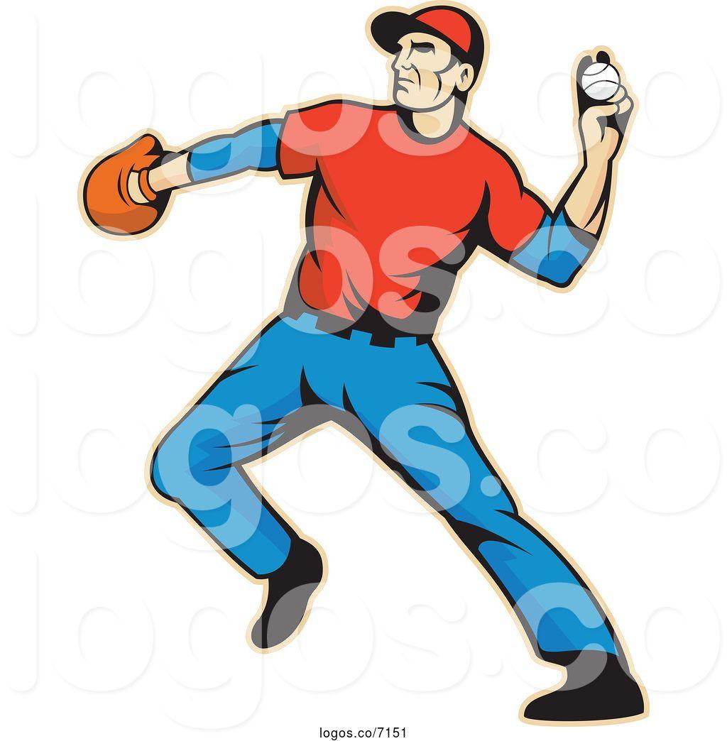 Royalty Free Clip Art Vector Baseball Outfielder Throwing a.