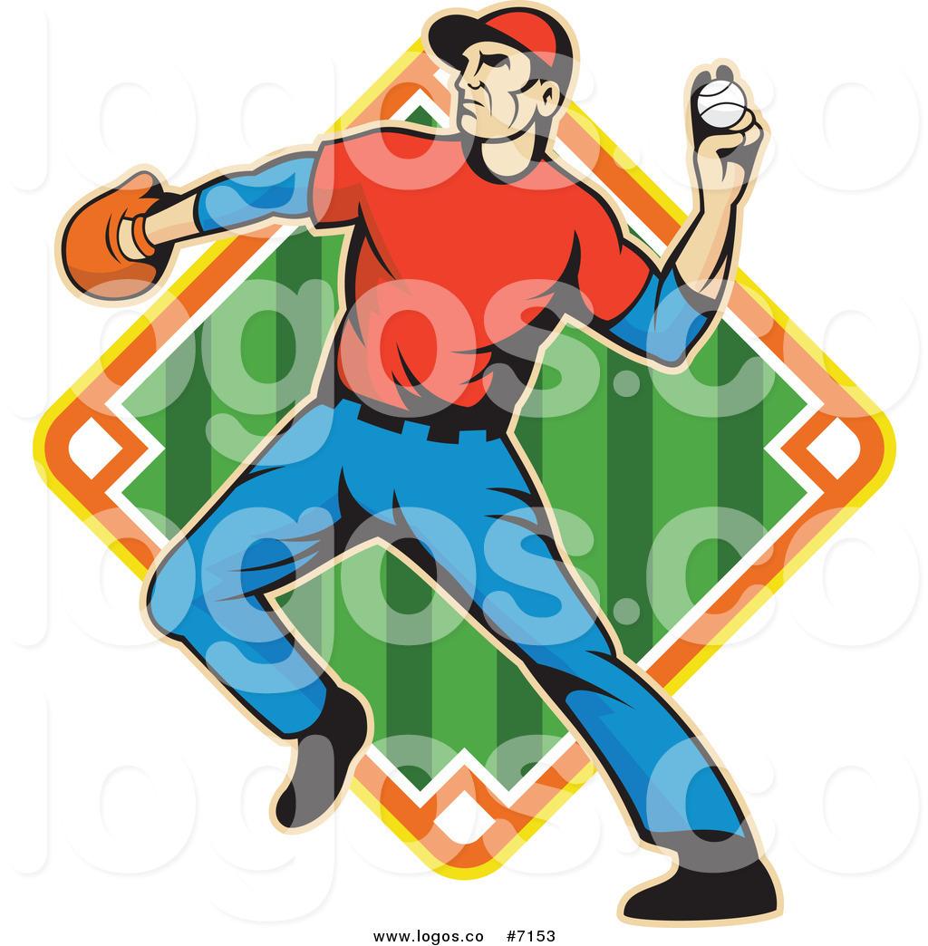 Royalty Free Clip Art Vector Logo of a Baseball Outfielder.