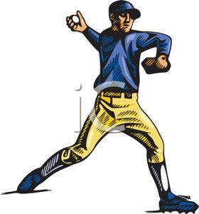 An Outfielder Throwing a Baseball.