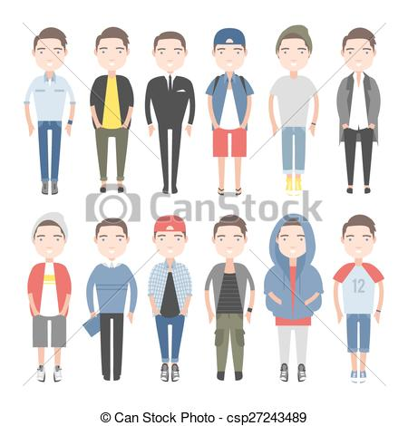 Vector of Men outfits for different occasions. Young people in.