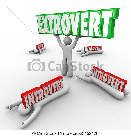 Stock Photo of Extrovert Vs Introvert People Uninhibited Outgoing.