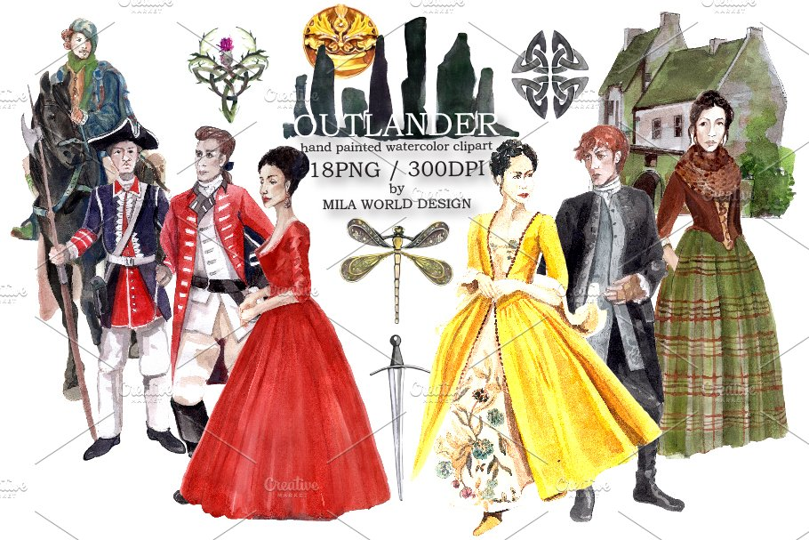 Outlander watercolor clip art.