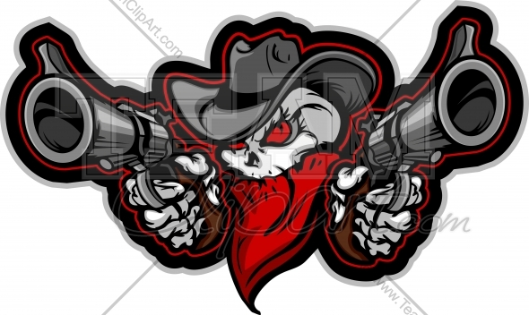 Outlaw Cowboy Skull Clipart.