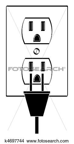 Drawings of electric or power outlet outline with plug k4697744.