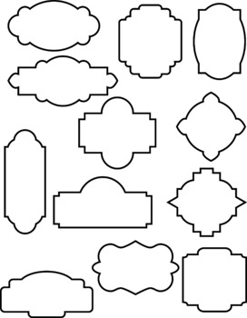 24 Decorative Frames Clipart, Outline Frames, Filled Frames, Borders, Labels.