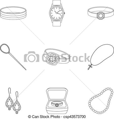 Vector Clipart of Jewelry and accessories set icons in outline.