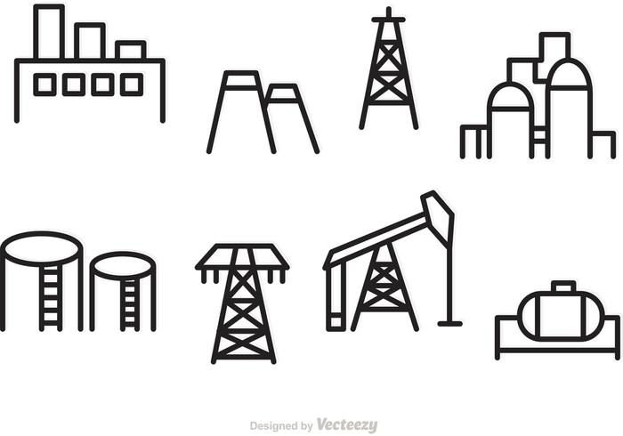 Oil and Industrial Vector Outline Icons.